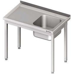 Stół ze zlewem jednokomorowym bez półki STALGAST 900x600x850 prawy