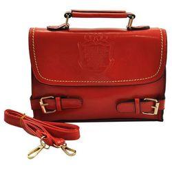 Czerwona torebka listonoszka z wytłoczonym znakiem tarczy RED - czerwony