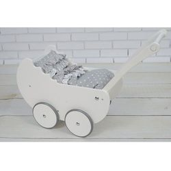 Wózek dla lalek Drewniany Pościel EKO