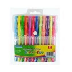 Długopisy żelowe FLUO 12 kolorów Schemat 0106