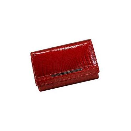 d181f654fbecf Czerwony lakierowany elegancki portfel damski Loren ze skóry naturalnej JP- 507-RS RED FK