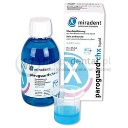 MIRADENT Paroguard CHX 0,20% 200ml - płyn o stężeniu chlorheksydyny 0,20% i związkami fluoru 250ppm
