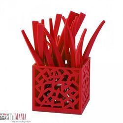 Sztućce z ażurowym stojakiem Vialli Design Mia czerwony 24 elementy