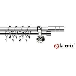 Karnisz Metalowy Rzymski podwójny 25/25mm Cylinder INOX