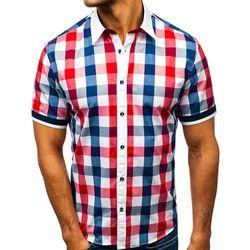 60c9def05692fa Koszula męska elegancka w kratę z krótkim rękawem czerwona Bolf 8901