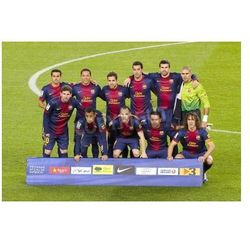 Fototapeta BARCELONA - 16 grudnia: Gracze Barcelona przed meczem Ligi Hiszpańskiej pomiędzy FC Barcelona i Atletico Madryt,