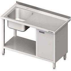 Stół ze zlewem jednokomorowym z szafką i półką STALGAST 1000x700x850 lewy