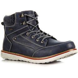 WISHOT granatowe buty zimowe męskie na białej podeszwie - granatowy