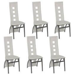 vidaXL Jadalniane krzesła, białe, 6 Darmowa wysyłka i zwroty