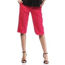 Różowe Stylowe Spodnie do Kolan z Szerokimi Nogawkami
