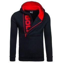 Czarno-czerwona bluza męska z kapturem z nadrukiem Bolf 01S - CZARNO-CZERWONY