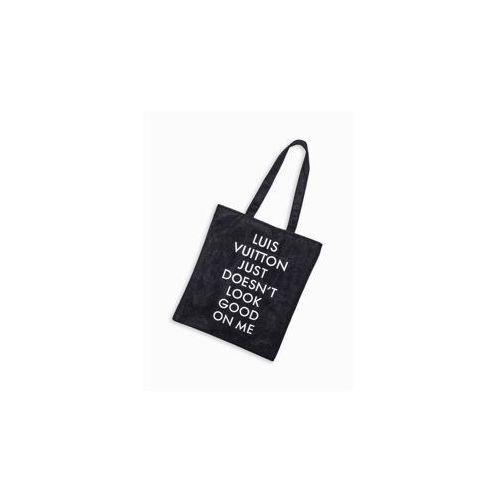 9a8ab194781d9 Czarna torba materiałowa z nadrukiem na ramię BLR099 - porównaj ...