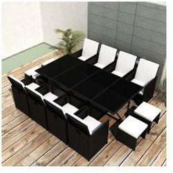 Rattanowy komplet jadalniany, 8 foteli, 4 taborety, czarny Zapisz się do naszego Newslettera i odbierz voucher 20 PLN na zakupy w VidaXL!