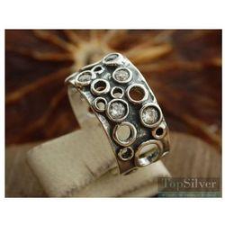 VULCANO - srebrna obrączka z kryształkami