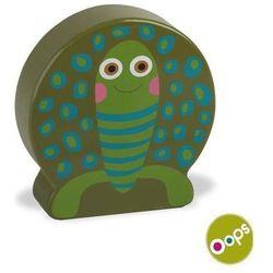 OOPS Drewniany klocek z dźwiękiem, grzechotka - Żółw