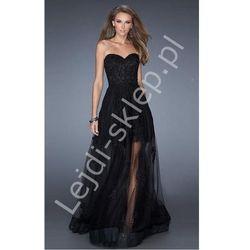 Długa wieczorowa suknia z koronką i tiulem z gipiurowymi aplikacjami czarne długie sukienki