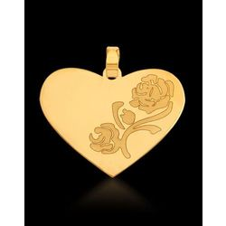 ?wisiorek złoty serce z różą