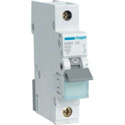Hager MCB Wyłącznik nadprądowy Icn=6000A 1P B 20A MBN120E