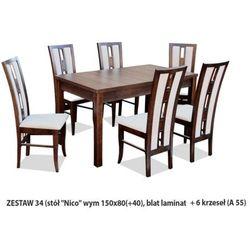 Zestaw Ares 34 Stół 80x150(+40) 6 krzeseł A55