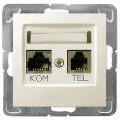 Ospel Impresja Gniazdo komputerowo RJ45 kat.5e + telefoniczne RJ11 KRONE ecru GPKT-Y/K/m/27