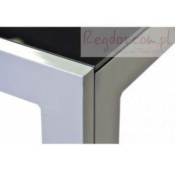 Aluminiowy stół ogrodowy ze szklaną płytą czarny 150 cm