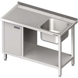 Stół ze zlewem jednokomorowym z szafką i półką STALGAST 1400x600x850 prawy