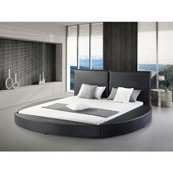 Nowoczesne łóżko skórzane czarne - 180x200cm - ze stelażem - LAVAL
