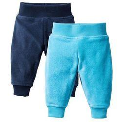 Spodnie niemowlęce z polaru (2 szt.) bonprix ciemnoniebieski + turkusowy