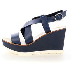 Niebieskie skórzane sandały
