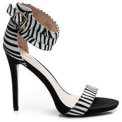 Kobiece zmysłowe Sandałki na szpilce Zebra - motywy zwierzęce