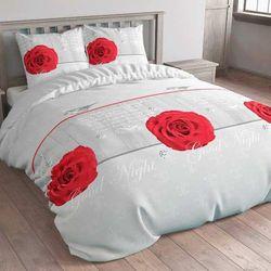 Niezwykła pościel WOOD ROSE szary czerwony (220 x 200 cm)