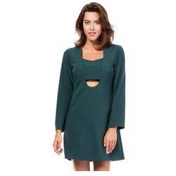 BW028 - Mini sukienka w kształcie litery A - Zielona
