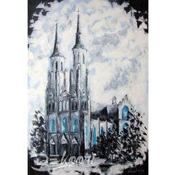 Obraz olejny pejzaż architektura katedra neo-gotycka 55x80 cm