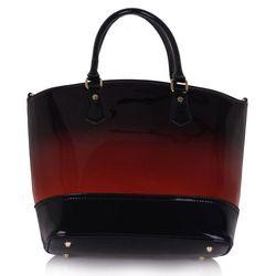 Czerwona lakierowana torebka damska z cieniowanym kolorem - czarny ||czerwony