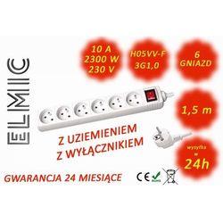 Przedłużacz elektryczny listwa z włącznikiem - 1.5 mb - WS NF 06 K / 1.5 / 1.0 / K - ELMIC biały