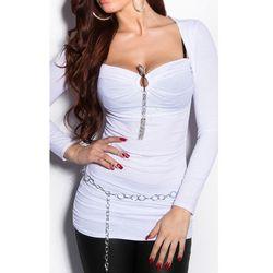 Wieczorowa bluzka z wężykiem, biała   bluzki damskie, młodzieżowe bluzki