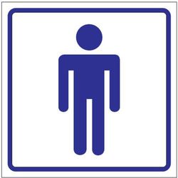 Oznaczenie toalet foliowe samoprzylepne - WC MĘSKI