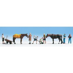 Figurki stajennych z końmi, NOCH 15634, skala H0, malowane, 8 szt.