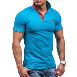 Niebieska koszulka polo męska Denley 7346 - NIEBIESKI Koszulki Polo 34.99 (-42%)