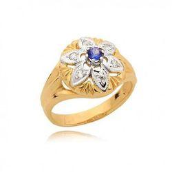 Piękny pierścionek z szafirem i cyrkoniami