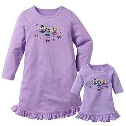 Koszula nocna + koszula nocna dla lalki (2 części) bonprix w kolorze bzu