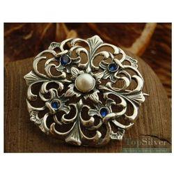 LUIZA - srebrna broszka perła i szafiry