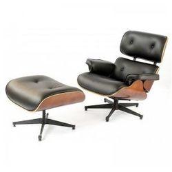 Fotel Luce inspirowany Lounge Chair czarny z podnóżkiem