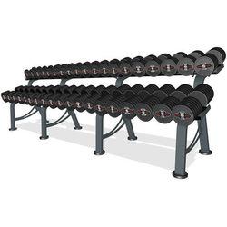 Zestaw hantli żeliwnych gumowanych 5-50 kg ze stojakiem Marbo Professional - czarny