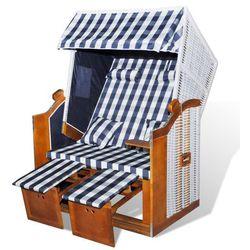 vidaXL Leżak plażowy, składany, niebiesko biała krata Darmowa wysyłka i zwroty