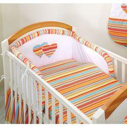 MAMO-TATO pościel flanelowa 3-el Serduszka w Paseczkach pomarańczowych do łóżeczka 60x120cm