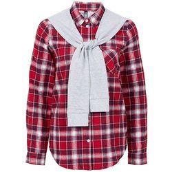 Koszula flanelowa z doszytymi rękawami z dzianiny dresowej bonprix ciemnoczerwono-czarny w kratę