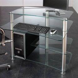 Szklane biurko aluminiowe do komputera