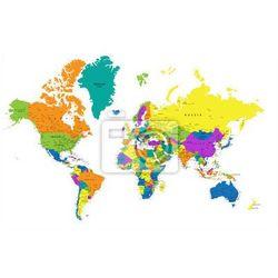 Fototapeta Kolorowa mapa świata politycznego z wyraźnie oznakowanych, oddzielnych warstwach. Ilustracji wektorowych.