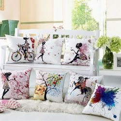 RUBI decorative throw pillows cushions without insert digital printing flower fairy bike butterfly almofadas housse coussin